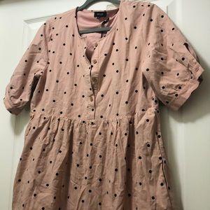 Polka dot button up dress NWT